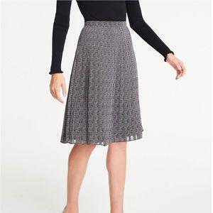 Ann Taylor Pleated Herringbone Skirt